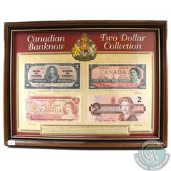 Canadian Two Dollar Banknote Collection in Wooden Frame. This set features 4 examples of the Canadia