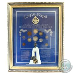 """Lest We Forget"" Canada at War Collection of Historic Coins of WWI & WWII in Metallic Frame. This se"