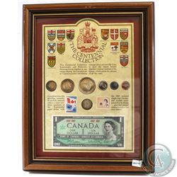 1967 The Centennial Collection Canada 7-coin, Stamp and Banknote set in wooden frame. This set featu