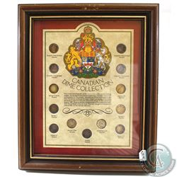 Canadian Dime Collection in Wooden Frame. This set features 13 Canadian dimes with all the different