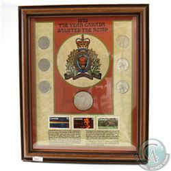 "1973 ""The Year Canada Saluted the RCMP"" Set in Wooden Frame. This set features 6 RCMP 25-cents, Comm"