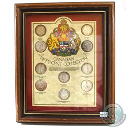 Canadian 50-cent Collection in Wooden Frame. This set features 10 Canadian 50-cent pieces with all t