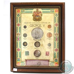 Selected Canadian Coinage of George V Set in Wooden Frame. This set features 2x 1-cent, 2x 5-cent, 1