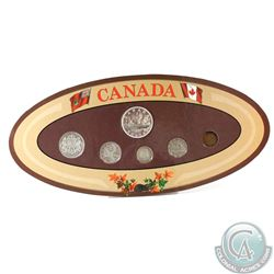 Canada 6-coin Year Set in Decorative Holder with Coins Dated 1947 with Pointed 7 Dollar