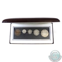 1916 Canada 5-coin Year Set in Hard Plastic Holder and Burgundy RCM Display Box.