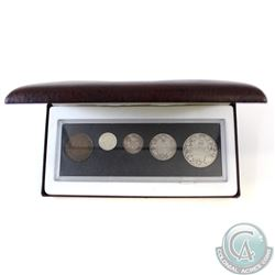 1917 Canada 5-coin Year Set in Hard Plastic Holder and Burgundy RCM Display Box.