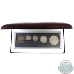 1919 Canada 5-coin Year Set in Hard Plastic Holder and Burgundy RCM Display Box.