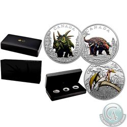 Royal Canadian Mint Lot of 3: 2016 Canada $10 Fine Silver Proof Coloured Coins – Day of the Dinosaur