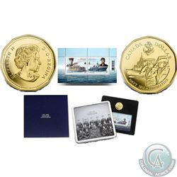 RCM Lot of 3: 1910-2010 Gold-Plated Auerate Bronze Navy Centennial Coin and Stamp Set (20,000 mintag