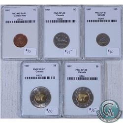 Lot of 5x Canada PNG Certified Coinage: 1991 1-cent MS-69, 1997 5-cent SP-68, 1997 10-cent SP-67, 19