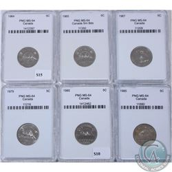 5-cent Canada 1964, 1965 Small Beads, 1967, 1979, 1980 & 1985 PNG Certified MS-64. 6pcs