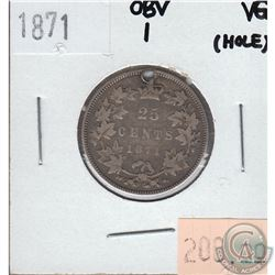 25-cent Canada 1871 Obverse 1 Very Good (Hole)