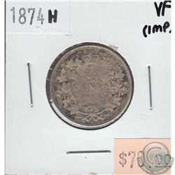 25-cent Canada 1874H Very Fine (Impaired)