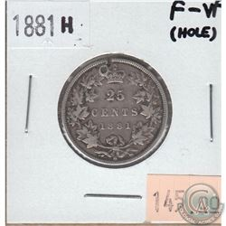 25-cent Canada 1881H F-VF (Hole)