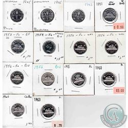 Estate Lot of 38x Canada 5-cents Dated 1945-2007. 38pcs