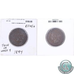 1894 Canada 1-cent EF-45 as stated on the holder.