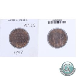 1899 Canada 1-cent MS-63; obverse 4 as stated on the holder. This coin was initially Certified by IC
