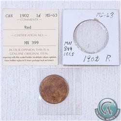 1902 Canada 1-cent MS-63 as stated on the holder. This coin was initially Certified by ICCS, however
