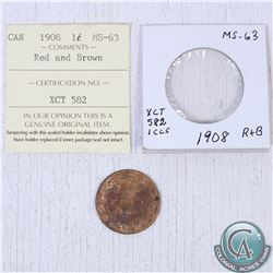1908 Canada 1-cent MS-63; red/brown as stated on the holder. This coin was initially Certified by IC