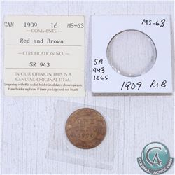 1909 Canada 1-cent MS-63; red/brown as stated on the holder. This coin was initially Certified by IC