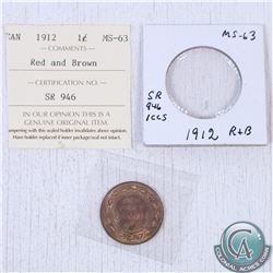 1912 Canada 1-cent MS-63; Red/Brown as stated on the holder. This coin was initially Certified by IC