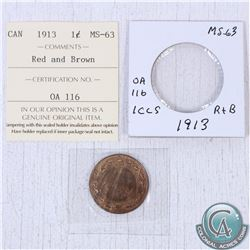 1913 Canada 1-cent MS-63; Red/Brown as stated on the holder. This coin was initially Certified by IC