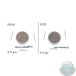 Lot of 2x Canada 10-cent Non-Magnetic Error Coins. You will receive a 1973 2.3g & 1979 2.2g 10-cent