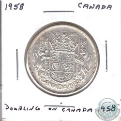 Rare 1958 Canada 50-cent with Doubling on the Date.