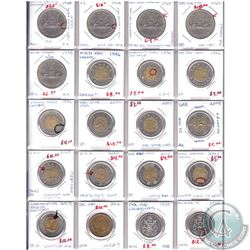 Estate Lot of 20x Canada Error Coins. You will receive 5x Nickel Dollars, 11x $2, 2x 50-cent & 1x Lo