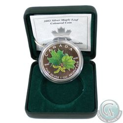 2002 Canada $5 Coloured Silver Maple Leaf (Coin has light spots & sleeve is missing) (TAX Exempt)