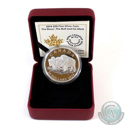2014 Canada $20 The Bison: The Bull and His Mate Fine Silver Coin (Capsule lightly scratched & outer