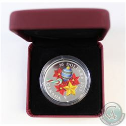 2013 Canada $20 Glass Candy Cane Fine Silver Coin (Missing outer sleeve, COA & capsule is scuffed/Re