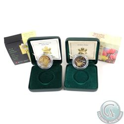 2002 Canadian Flora 50-cent Golden Tulip & 2004 Easter Lily Sterling Silver Coins (2002 capsule is l