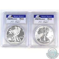 2013 W West Point Mint Reverse Proof & 2013 W Enhanced Mint state 1oz .999 Fine Silver Eagles PCGS C