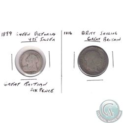 Estate lot of 2x Great Britian Silver Coins: this lot includes the 1816 Great Britian Schilling and