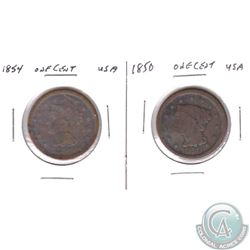 1850 & 1854 United States 1-cent coin in 2x2 holders.2 pcs