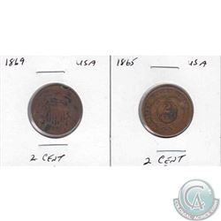 Estate lot of 2x USA Two Cent coins dated 1865 & 1869 in 2x2.
