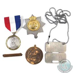 Estate lot of 5x Miscellaneous Badges. This lot includes the following: 1x Cap badge, 1x Dog Tag, 1x