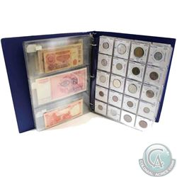 Estate Lot of World Coins and Banknotes in Blue Collector Folder. You will receive 136 coins from ar