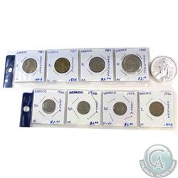 Estate lot of 8x 1959-1988 Lepta & Drachma Coins with 1x Cleopatra 2 oz .999 Fine Silver Ultra High