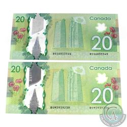 Pair of Misplaced serial number errors on 2012 $20.00 notes.