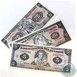 Three banknotes from Ecuador dating from 1983 in UNC Condition.  Denominations include 5 Sucres, 10