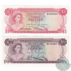 Pair of banknotes from the Bahamas in UNC Condition.  Included is a 1/2 dollar from 1965 and a $3 fr