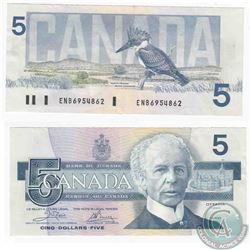 1986 $5.00 note with Crow-Bouey signature and ENB prefix.