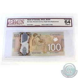 2011 Single note replacement $100.00 note, EKD(3.478M-3.479M), BCS Certified CUNC-64, Original