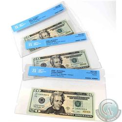 3 x 2009 USA $20.00 notes in sequence, starting with a four digit REPEATER, all CCCS Certified AU-55