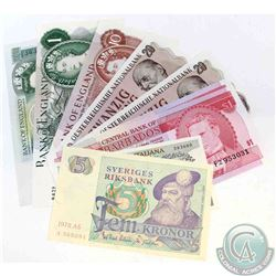 Group lot of 9 world banknotes from the following countries; Sweden, Italy, Barbados, Austria, and E