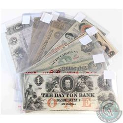 Group lot of 10 banknotes from banks in 1800's USA.