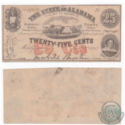 State of Alabama 25c Civil War note dated 1863