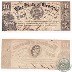 State of Georgia $10 Civil War note Dated 1865